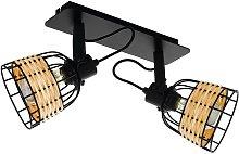 Foco de techo Anwick 1 acero/ratán, 2 luces