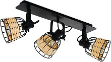 Foco de techo Anwick 1, decoración ratán, 3 luces