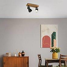 Foco de techo Arbo con elemento de madera, 2 luces