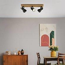 Foco de techo Arbo con elemento de madera, 3 luces
