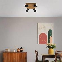 Foco de techo Arbo con elemento de madera, 4 luces