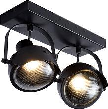 Foco de techo Cicleta, negro, 2 luces