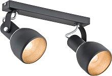 Foco de techo Fiord, 2 luces, negro