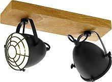 Foco de techo Gatebeck de madera y metal, 2 luces