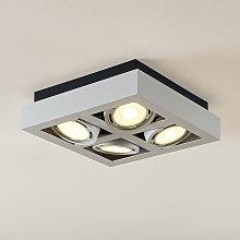 Foco de techo LED Ronka, 4 brazos cuadrado blanco