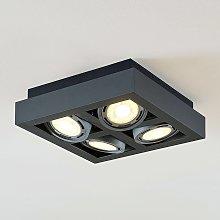 Foco de techo LED Ronka, 4 brazos, cuadrado, gris