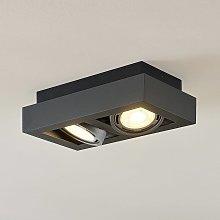 Foco de techo LED Ronka, GU10, 2 brazo gris oscuro
