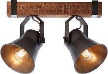 Foco de techo Plow, negro/madera oscura