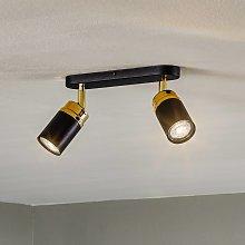 Foco de techo Reno, 2 luces, negro/oro