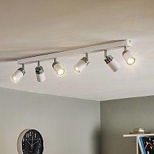 Foco de techo Reno, 6 luces, blanco/cromo