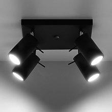 Foco de techo Round en negro, 4 luces cuadrado
