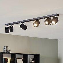 Foco de techo Square, negro 6 luces lineal