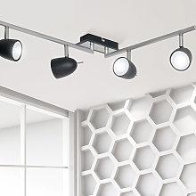 Foco de techo Taylor, negro/cromo, 4 luces