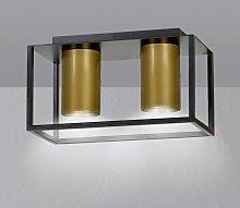 Foco de techo Tiper con marco, 2 luces, negro-oro
