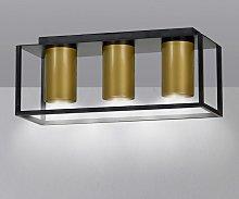 Foco de techo Tiper con marco, 3 luces, negro-oro