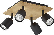 Foco de techo Top Wood, 4 luces, madera/negro