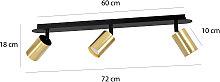 Foco de techo Zen 3 con 3 focos, negro-oro