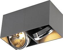 Foco diseño rectangular gris 2-luces - BOX