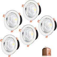 Foco Downlight LED 5W (Pack 5) Aro Blanco