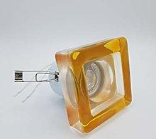 Foco Empotrable GU10 Cristal Cuadrado Naranja