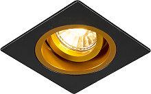 Foco empotrado cuadrado negro/oro