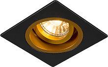 Foco empotrado cuadrado negro/oro orientable -