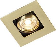 Foco empotrado cuadrado oro/latón orientable -