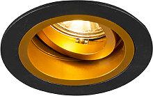 Foco empotrado redondo negro/oro orientable