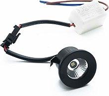 Foco LED mini spot negro 1 W empotrable redondo 28