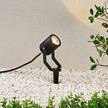 Foco LED para exterior Maris negro varilla anclaje