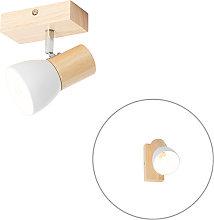 Foco rústico madera blanco orientable - THORIN