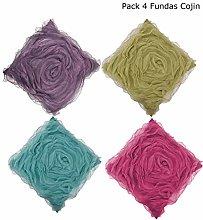 ForenTex Pack 4 Fundas de Cojín Diseño de Flor