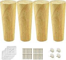 FTYYSWL 4 patas redondas de madera maciza, patas