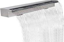 Fuente cascada rectangular piscina acero