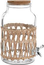 Fuente de bebida de vidrio y ratán 5,5 L