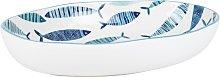 Fuente ovalada de loza blanca con motivos de peces