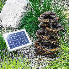Fuente solar luminosa en cascada para jardín