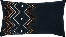 Funda de cojín de algodón bordado tricolor 30x50