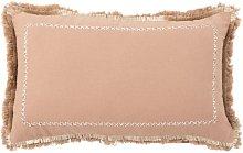 Funda de cojín de algodón efecto rosa antiguo