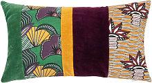 Funda de cojín de algodón estampado multicolor