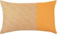 Funda de cojín de lino naranja estampado 50x30
