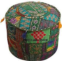 Funda de puf otomano bordado de algodón con