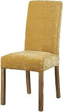 Funda de silla de terciopelo amarillo mostaza