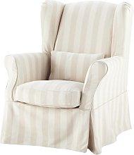Funda de sillón a rayas de algodón beige