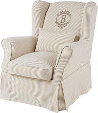 Funda de sillón de algodón con motivos de rayas