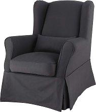 Funda de sillón de algodón gris antracita
