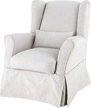 Funda de sillón de algodón gris claro