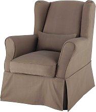 Funda de sillón de algodón gris topo
