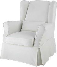 Funda de sillón de algodón marfil