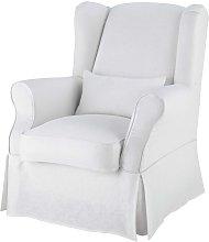 Funda de sillón de lino blanco